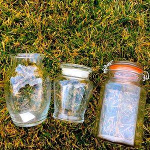 Glass jars bundle 3 piece set nice bundle